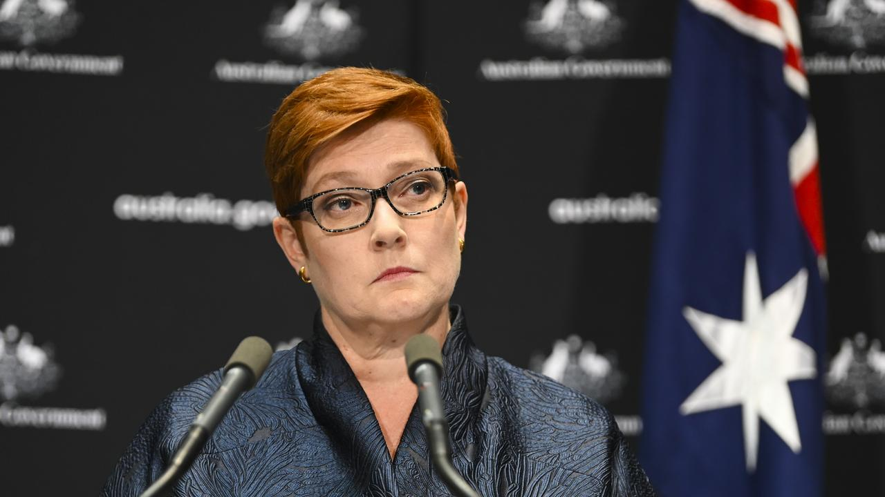 Foreign Minister Marise Payne... 'A number of staff have received glass injuries'