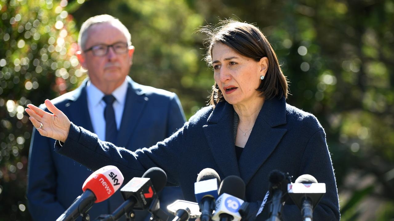 NSW Premier Gladys Berejiklian (right) and NSW Health Minister Brad Hazzard during a press conference at Parliament House in Sydney. Picture: NCA NewsWire/Joel Carrett