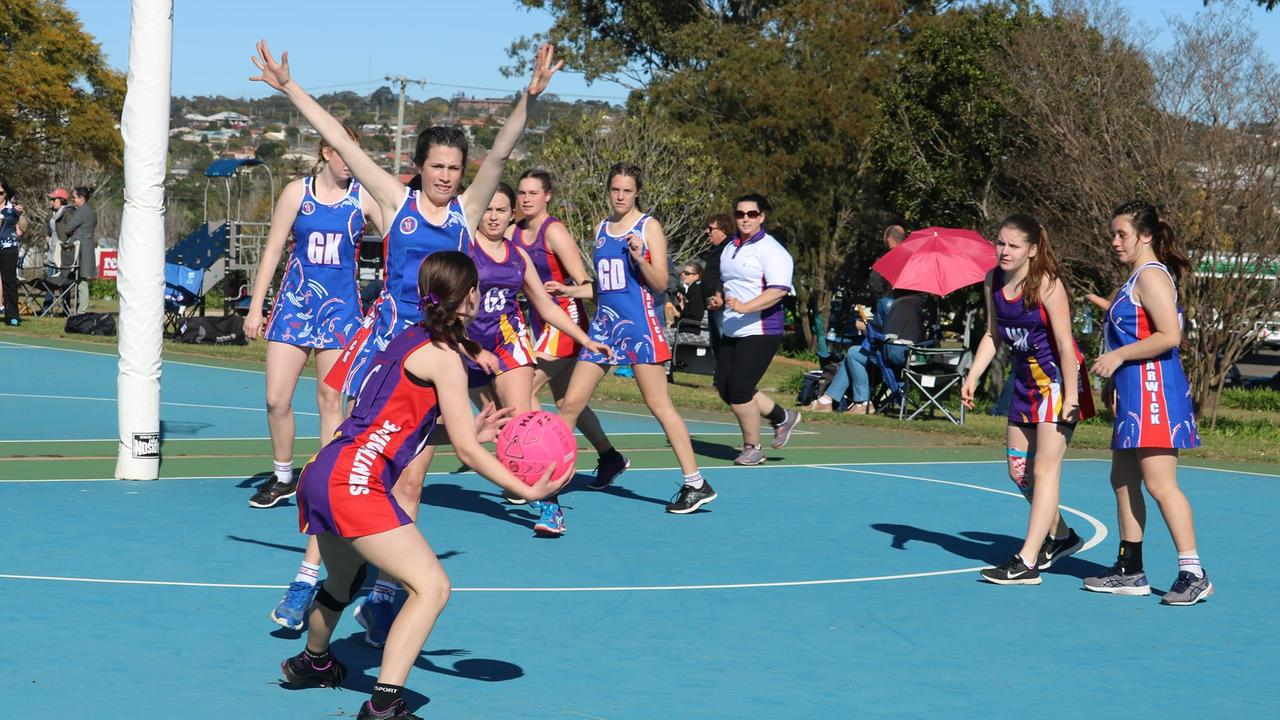 ON COURT: Stanthorpe netballers hit the court at the Darling Downs Inter District carnival on Sunday.