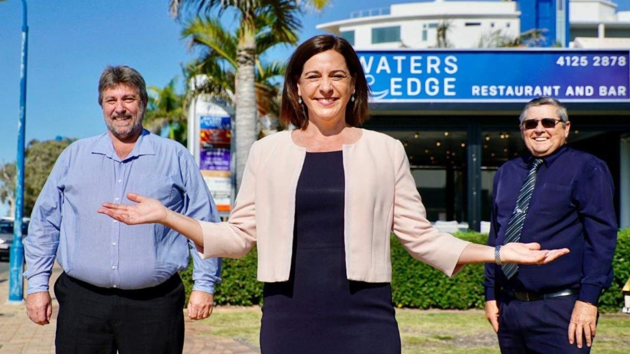 New LNP candidate for the seat of Hervey Bay Steve Coleman with retiring MP Ted Sorensen and LNP leader Deb Frecklington.