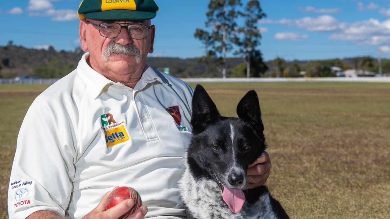 Lockyer Veterans cricketer Mike Nowlan and his trusty sidekick dog Queenie. PHOTO: ALI KUCHEL