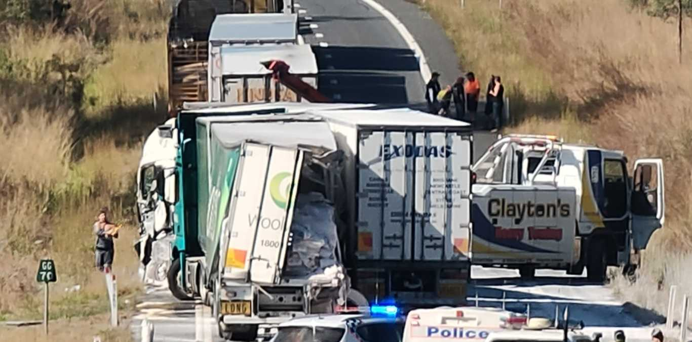 The scene of a three truck crash at Granite Creek, South of Miriam Vale on the Bruce Highway that occurred overnight.