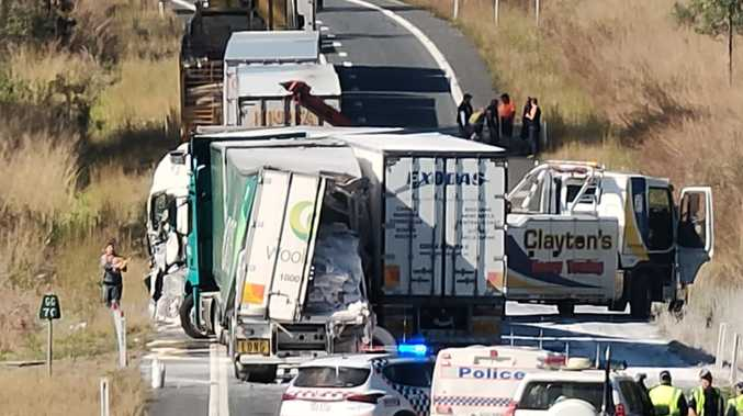 Three trucks, car and caravan involved in horror crash