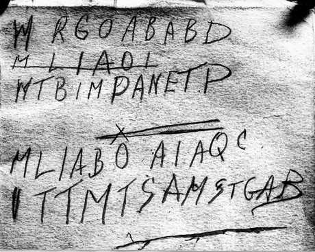 Strange text resembling an encrypted message found at the back of the book possibly owned by the Somerton man. Source: Wikipedia