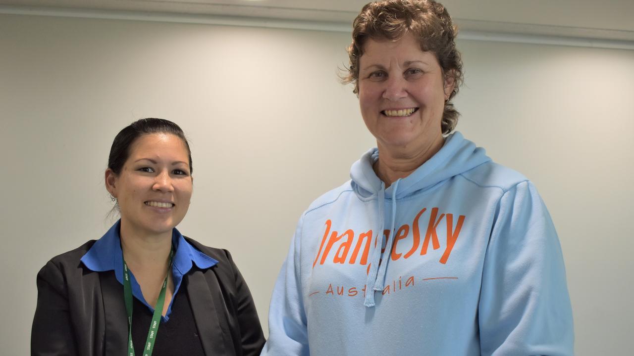 Aboriginal and Torres Strait Islander Community Health Service (ATSICHS) finance manager Maria Tyler with Orange Sky Mackay volunteer Lisa Jamieson at the Mackay Community Foundation grants' presentation. Picture: Heidi Petith