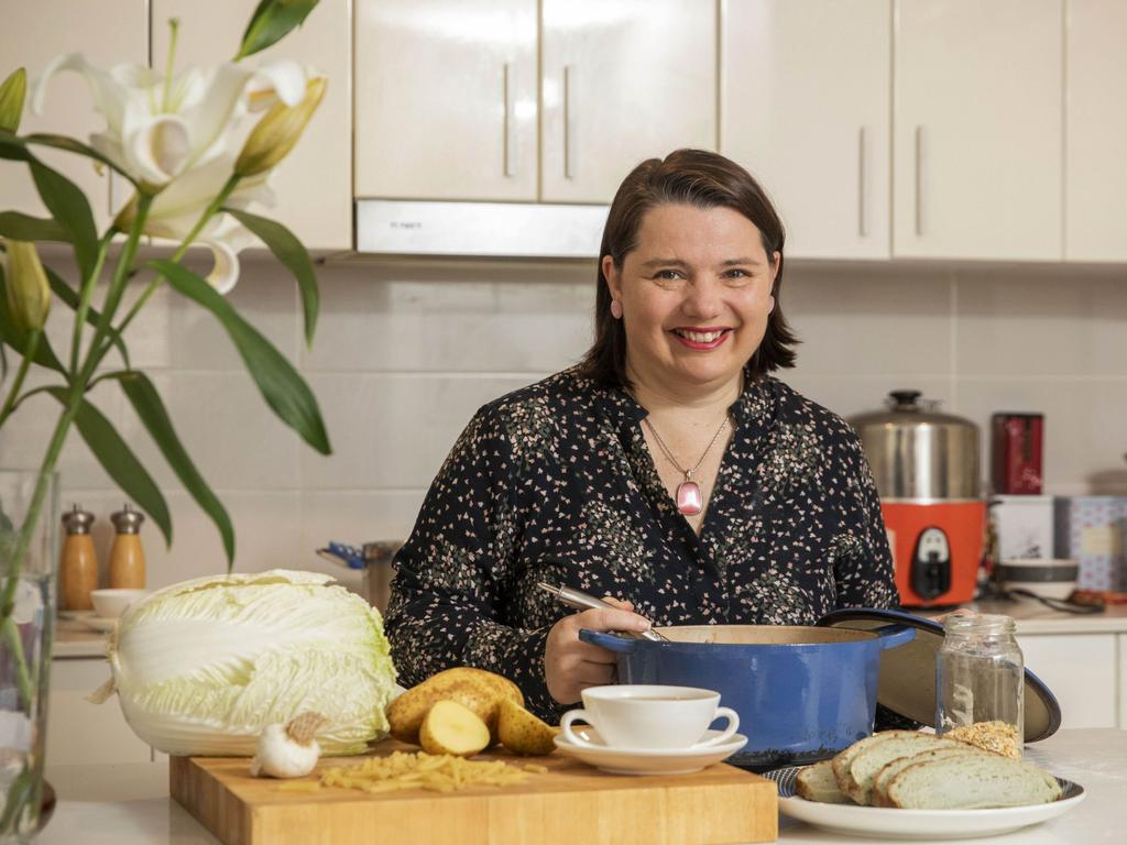 Serina Bird makes soup at home in Canberra. Picture: Sean Davey