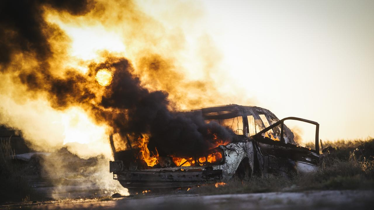 FILE PHOTO: A car stolen from Mount Lofty was found torched in a paddock outside Oakey this morning.