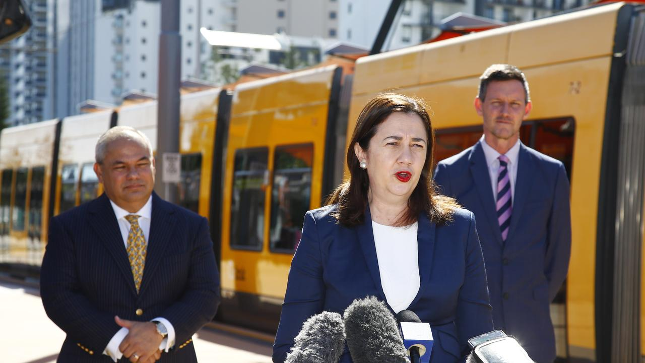 Gold Coast Mayor Tom Tate, QLD Premier Annastacia Palaszczuk and Transport Minister Mark Bailey during a media conference in Broadbeach. Picture: Tertius Pickard