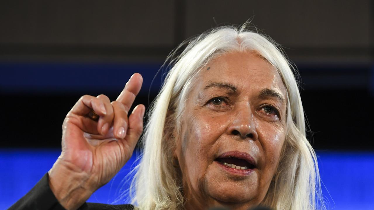 Anthropologist, Geographer and Foundation Chair of Australian indigenous Studies at the University of Melbourne Marcia Langton delivers an address to the National Press Club in Canberra, Wednesday, September 25, 2019. (Lukas Coch)