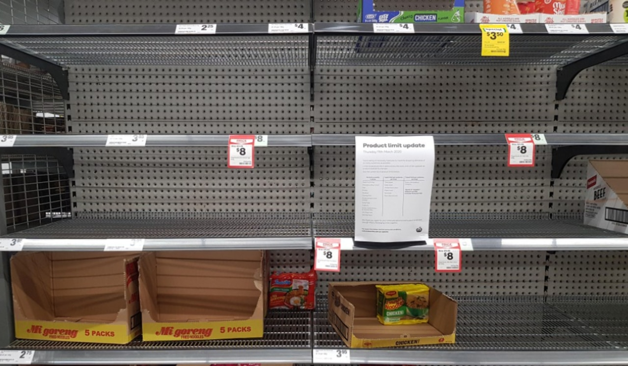 Panic buying has emptied shelves across Australia.