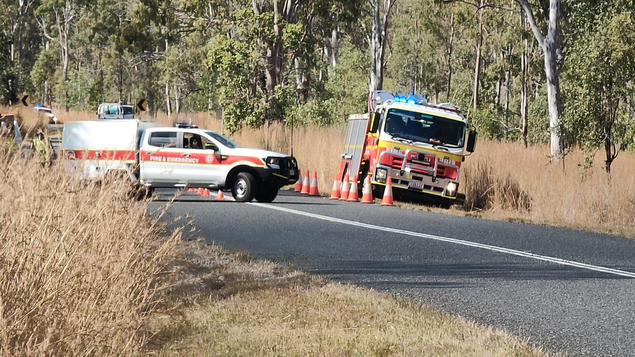 The scene of a double fatality on the Calliope Monto Road yesterday.