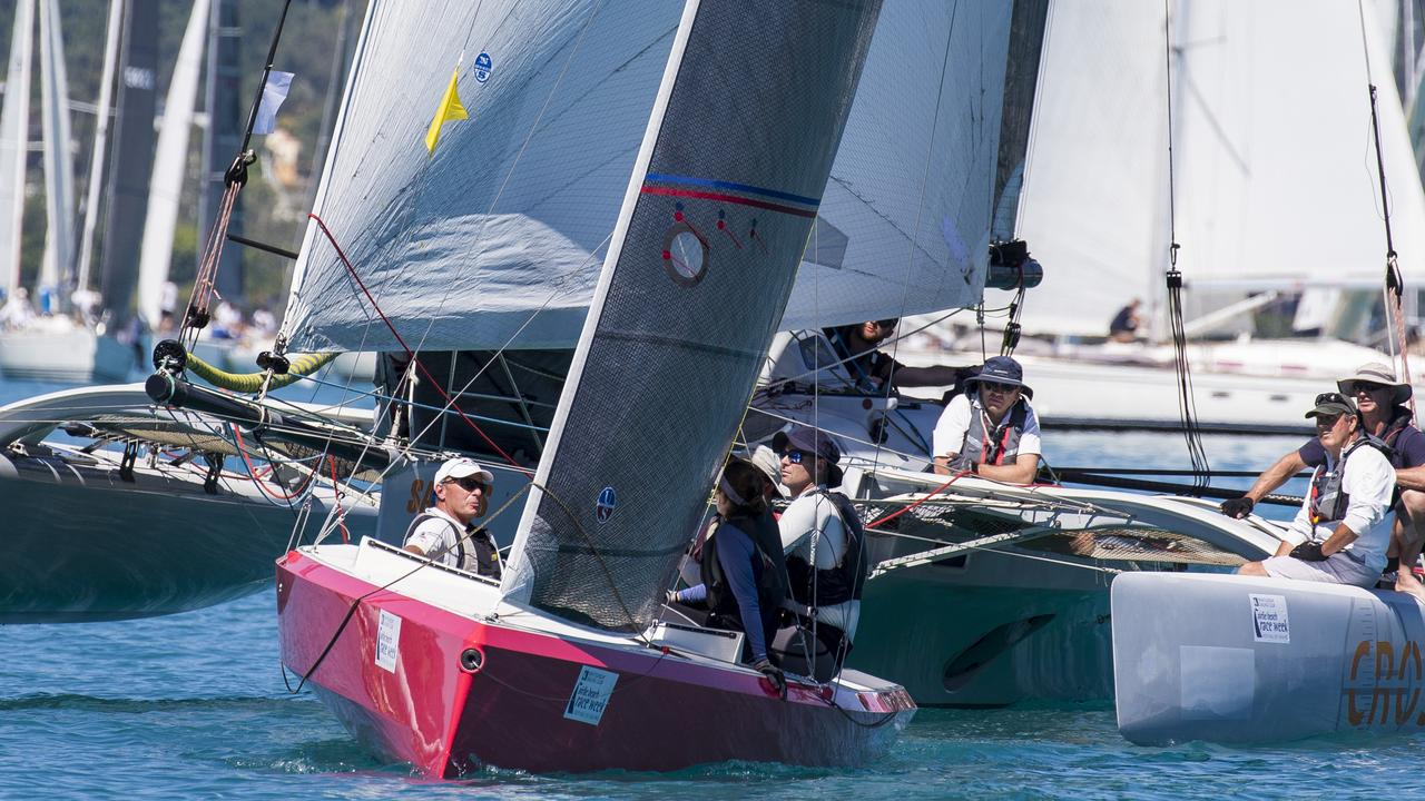 Multis mix it with monohulls in last year's mass start. Photo: Andrea Francolini, Airlie Beach Race Week