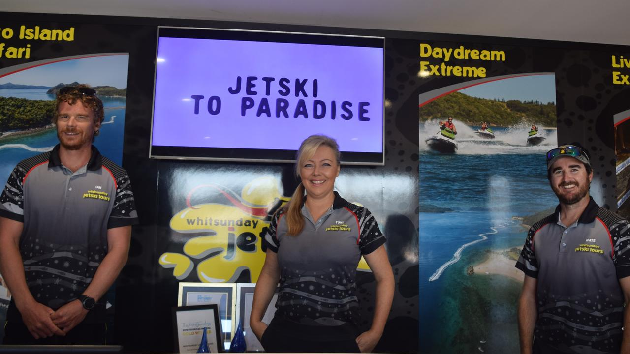 Ian Wilson, Toni Ward and Nate Linnell, from Whitsunday Jetski Tours. Picture: Deborah Friend