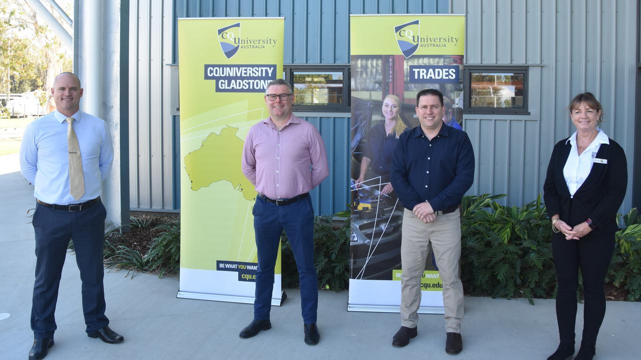Luke Sinclair, Senator Murray Watt, Mayor Matt Burnett and Allison Murdoch at the CQUniversity Trades Training Centre today.