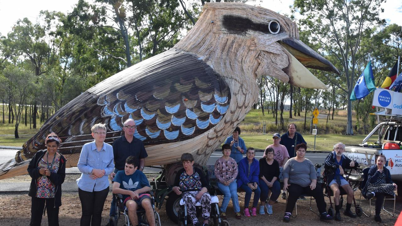 Customers at Endeavour Foundation enjoying the giant Kookaburra visit.