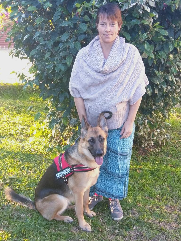 Jacques Sears with her service dog Sasha.
