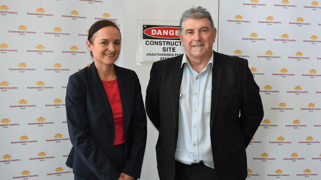 Riverlink Centre Manager Alexa Arnott with Queensland Country Bank regional manager for Southern QLD Peter Holzknecht.
