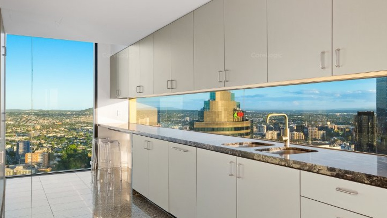 The view from the kitchen in the apartment at 4105/71 Eagle St, Brisbane CBD, which is for rent. Image: CoreLogic.