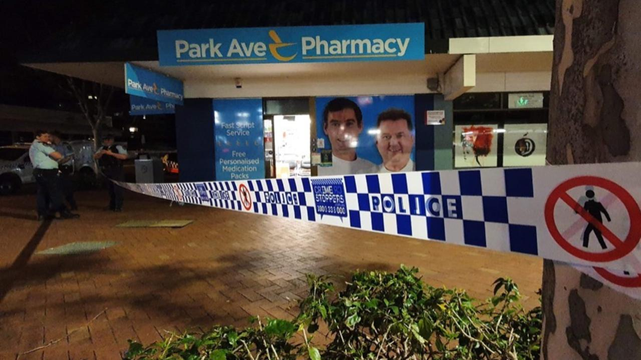 Park Avenue Pharmacy after a suspected robbery on Wednesday, August 5. Photo: Kyle Hands Media.