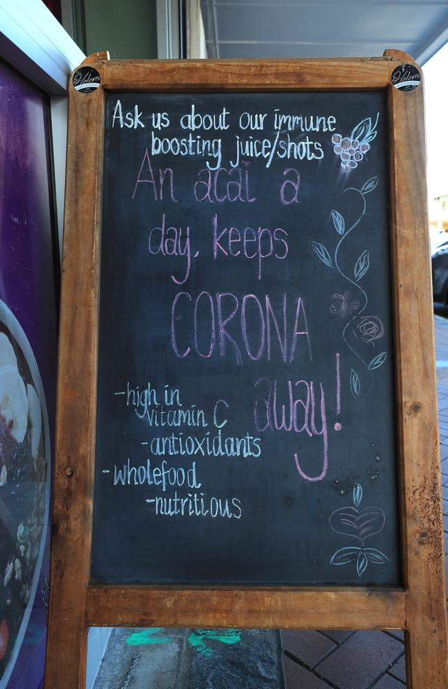 Helen's Heavenly Cafe and Juice Bar in Burleigh has raised eyebrows with its coronavirus claims. Picture: Adam Head.