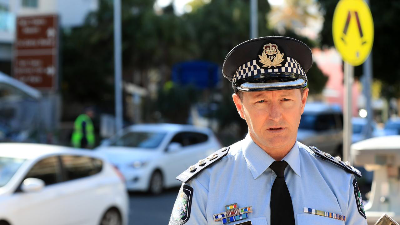 Chief Superintendent Mark Wheeler speaks to the media at Griffith Street in Coolangatta. Picture: Adam Head.