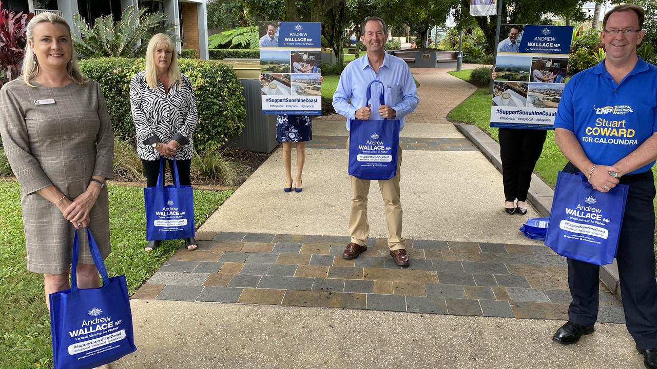 Andrew Wallace MP with Olivia Sainsbury, CEO of Caloundra Chamber of Commerce and Industry, Selina Smith, Secretary of the Caloundra Business Alliance, and Stuart Coward, LNP Candidate for Caloundra.