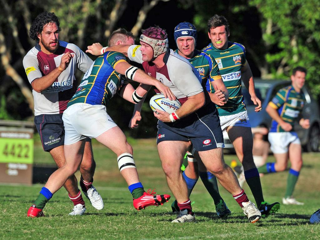 Noosa Dolphins prop Gary McNeil playing in 2014.