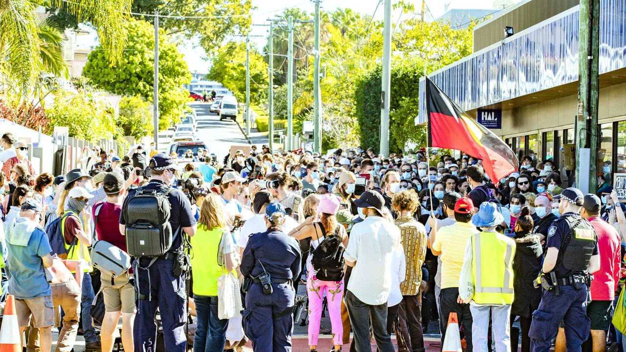 Refugee protesters at Kangaroo Point in July. Picture: Richard Walker