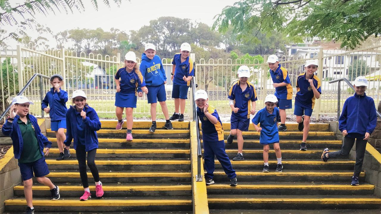 Gladstone South State School students walking as part of the GPC's Active August initiative.