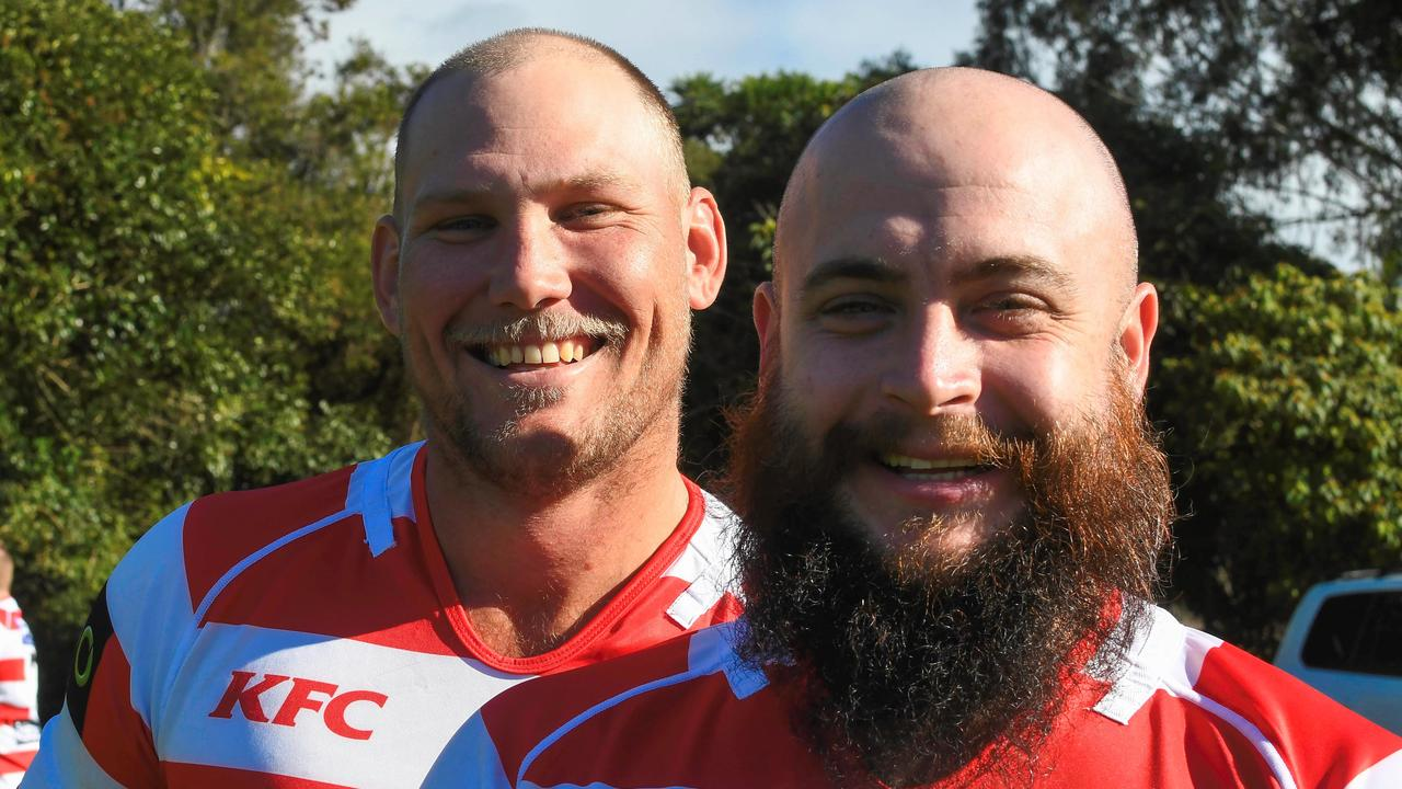 DOUBLE CENTURIES: Ed McGrath (left) and Zac Mason-Gale will both run out for the Grafton Redmen against Lennox Head on Saturday with 100-games under their belt.