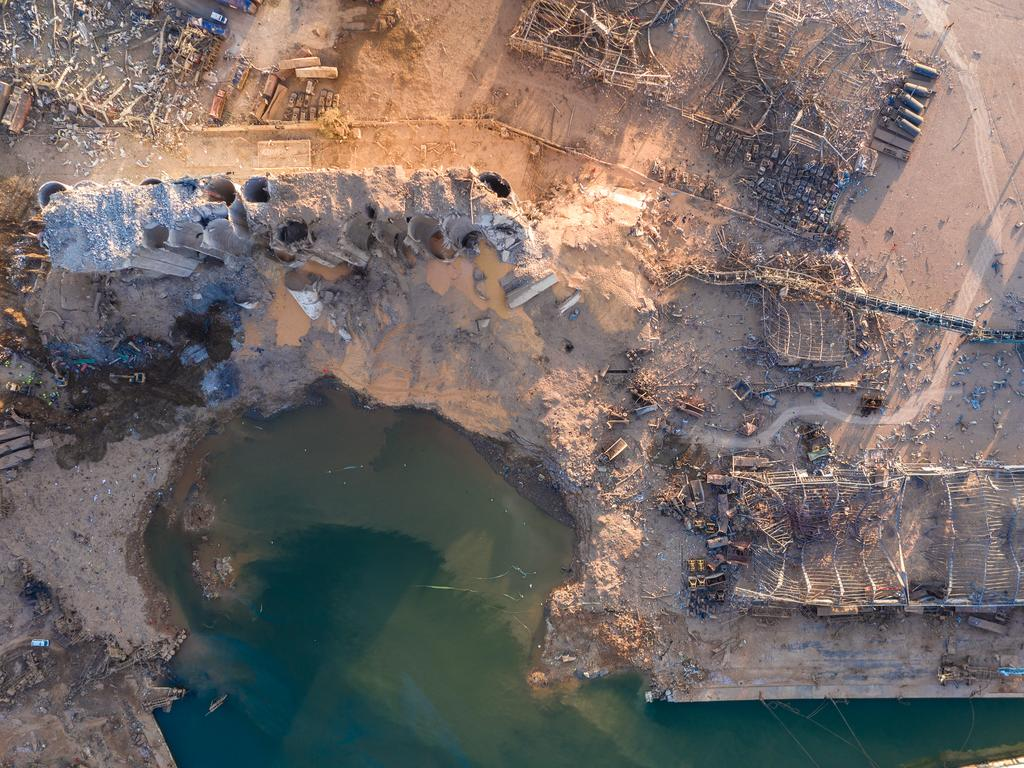 An aerial view of ruined structures at the port. Picture: Haytham El Achkar/Getty Images