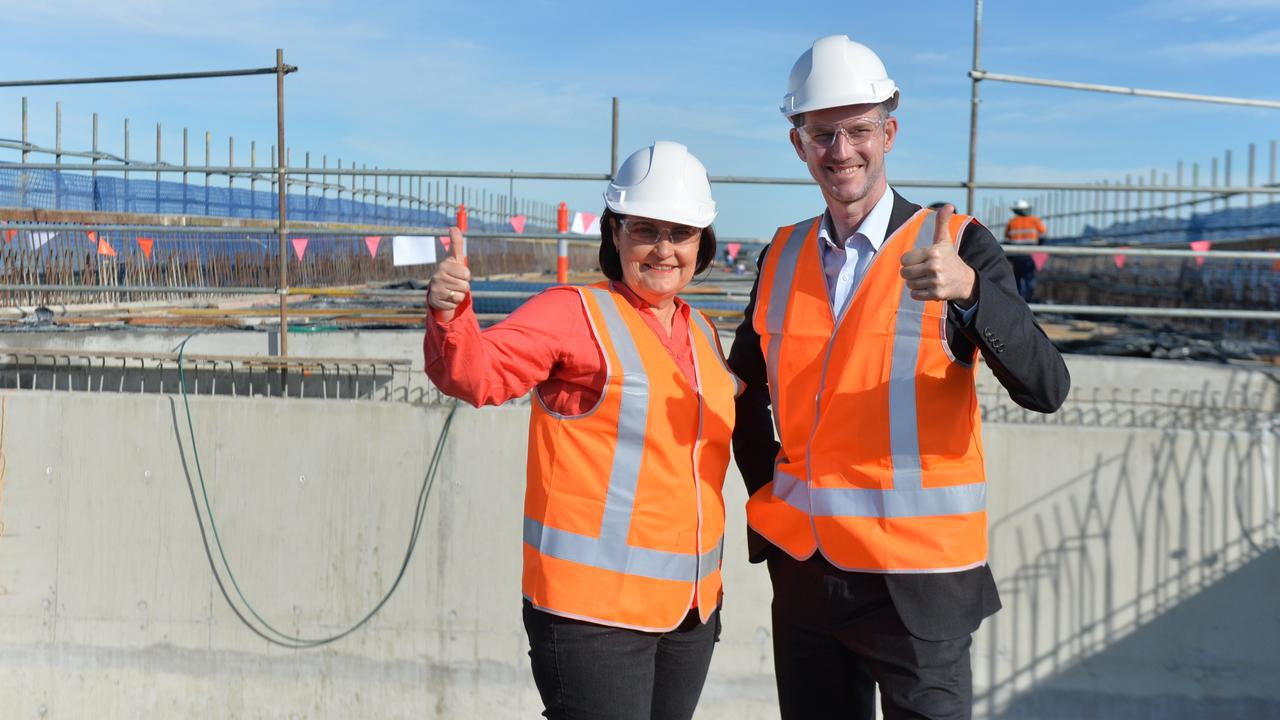 Mackay MP Julieanne Gilbert and Transport Minister Mark Bailey inspect the progress of the Mackay Ring Road stage one.