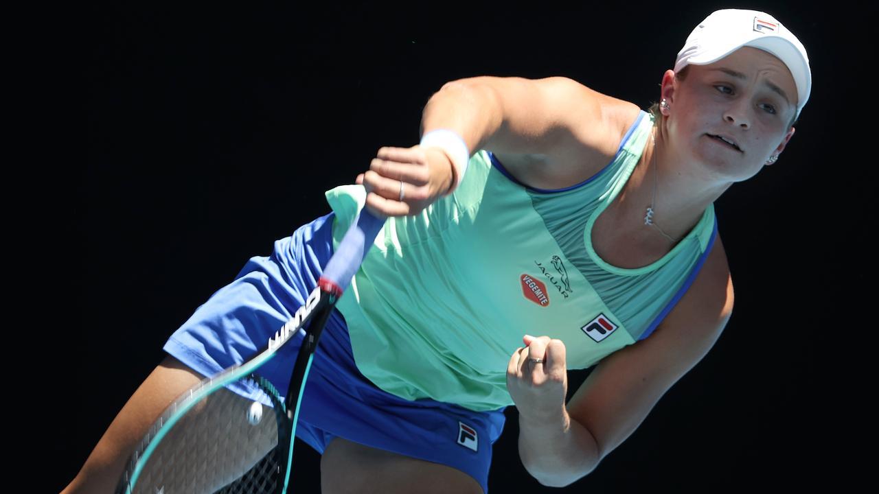 Australian Open Day 11. 30/01/2020. Ash Barty vs Sofia Kenin. Ash Barty serves. Pic: Michael Klein