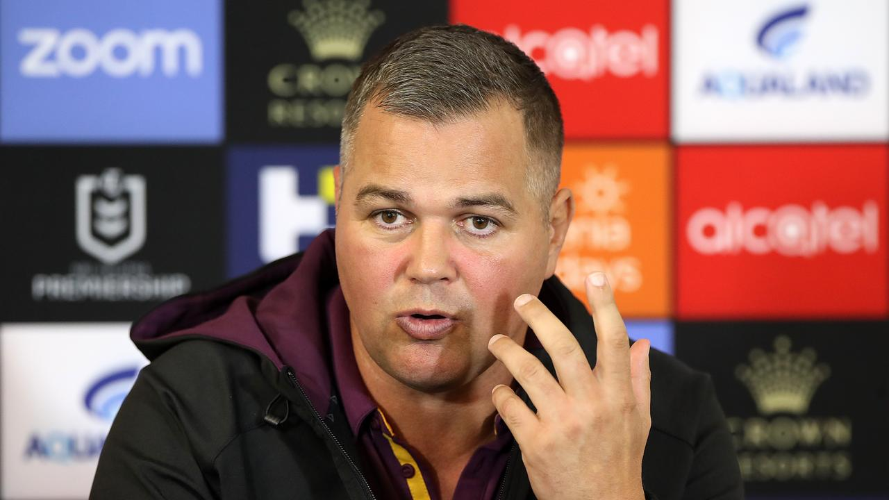 Broncos coach Anthony Seibold lamented his team's inability to lay a platform and defend through the middle. Picture: Mark Kolbe/Getty Images