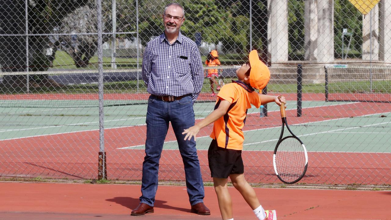Ash Barty's dad Robert at Gordonvale Tennis Club checking out the Edmonton Blitz tennis squad. Robert Barty watching Edmonton Blitz tennis squad member Justin Cheng, 10. PICTURE: STEWART McLEAN