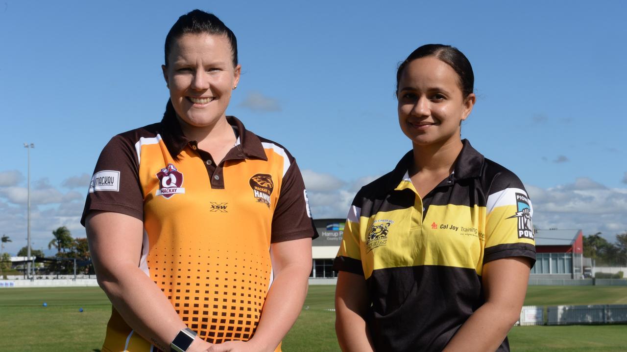 Mackay City Hawks co-captain Mel McLeod and Bakers Creek Tigers co-captain Dominique Healy.