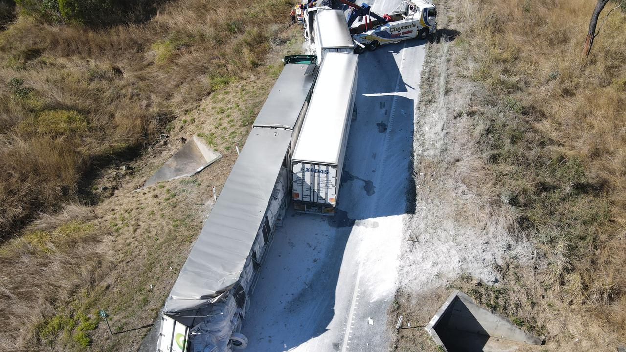 Drone photos of a truck crash on the Bruce Highway about 35km south of Miriam Vale that occurred about 7am on August 6. Picture: Rodney Stevens DJI Mavic Air 2