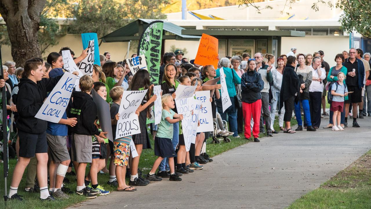 Protest in May 2017 when it was revealed the lease for the Coffs Harbour War Memorial Swimming Pool mangment contract would go to Lane 4 Pty ltd.