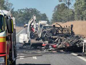 50 metre wall of flame in fiery Bruce Hwy crash