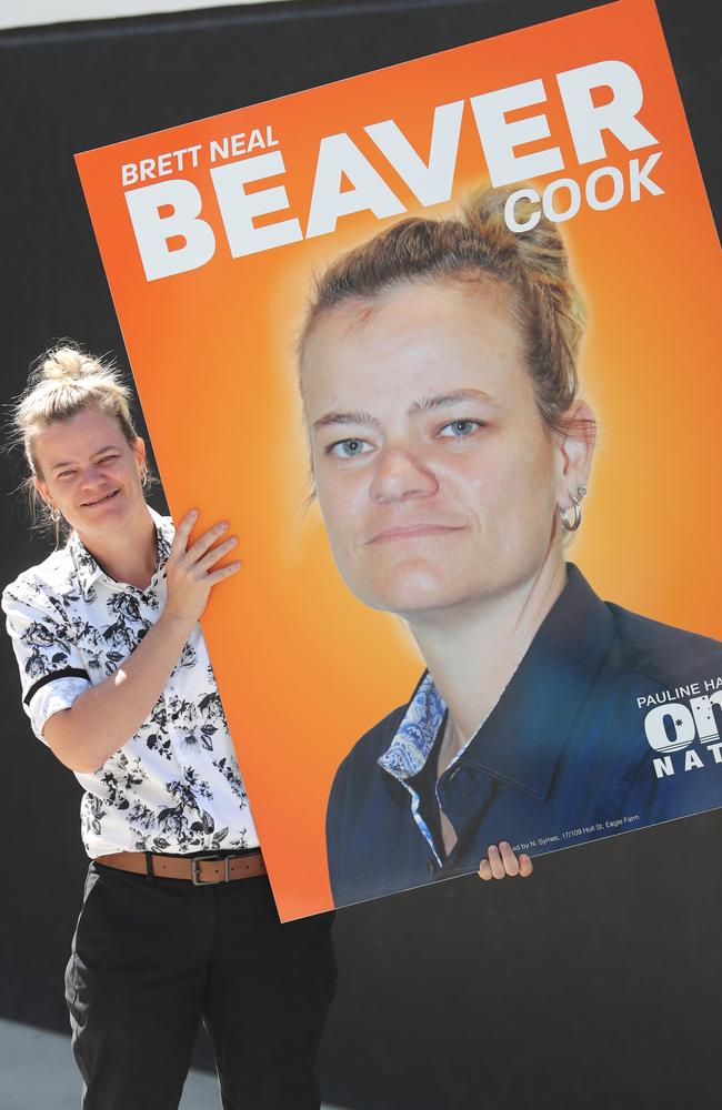 The Beaver has arrived. Brettyln Neal is running for Pauline Hanson's One Nation Party. Picture: Peter Wallis