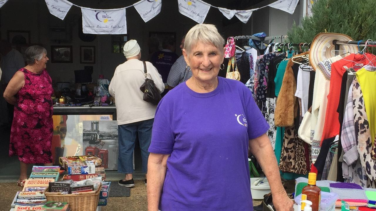 Heather Walsh at a Relay For Life garage sale fundraiser.