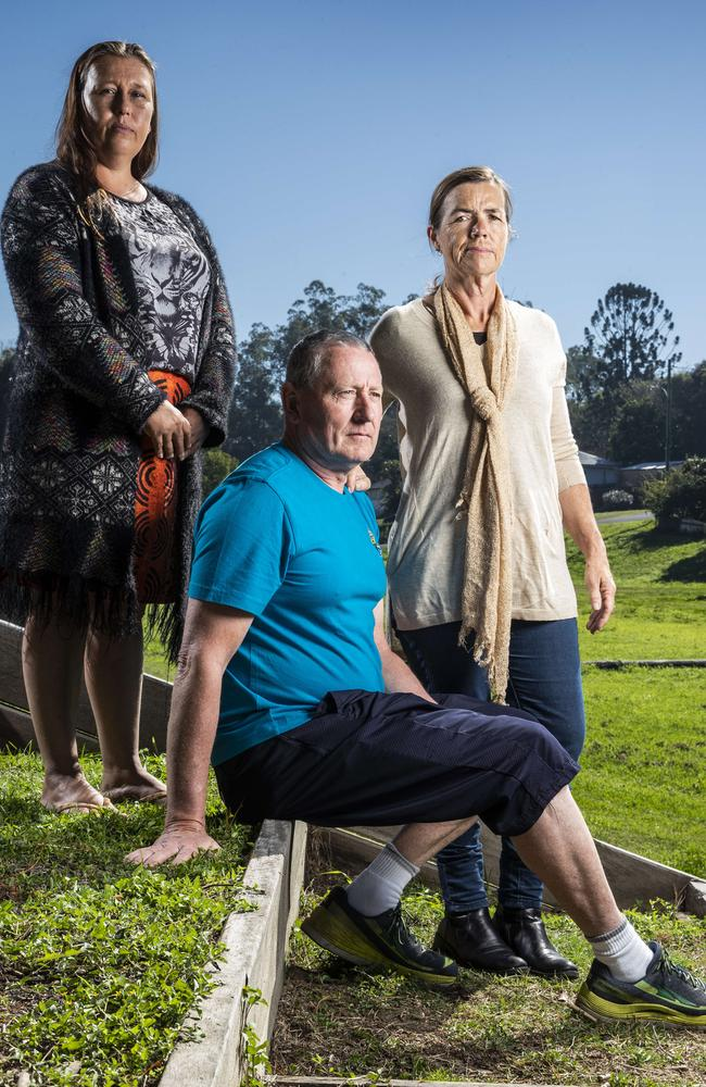 Gympie locals Elenka Parker, Steve and Dee are all looking for work at a time where employment opportunities are extremely limited. Picture: Lachie Millard