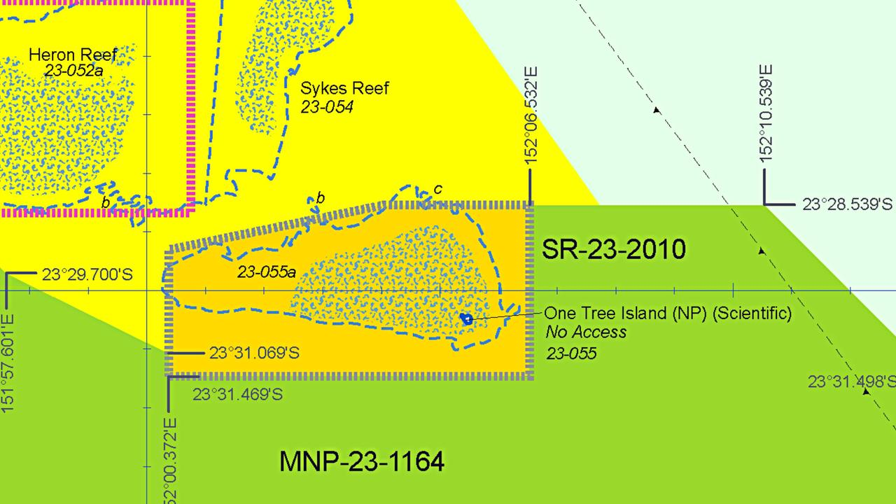 The Scientific Research (Orange) Zone, which is a Restricted Access Special Management Area, at One Tree Island Reef in the Capricorn Bunker Group, offshore Gladstone. Public access is not allowed. © Great Barrier Reef Marine Park Authority