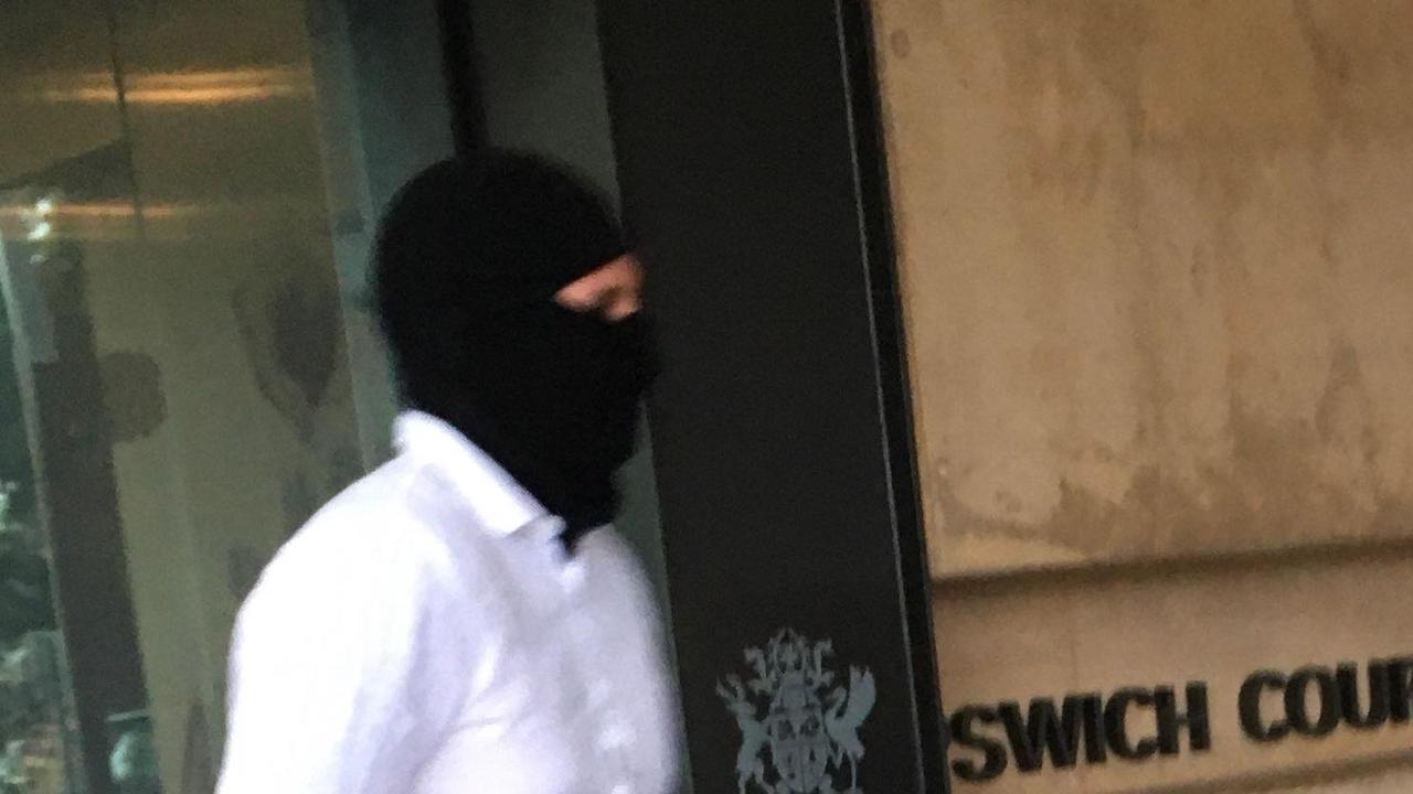 James Yoxon left Ipswich Courthouse in a black balaclava.