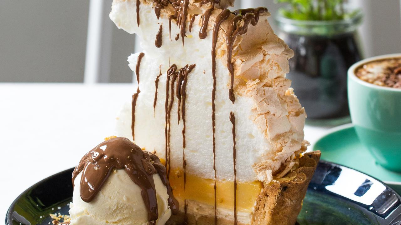 Bay Vista's lemon meringue pie with chocolate sauce. Picture: Supplied