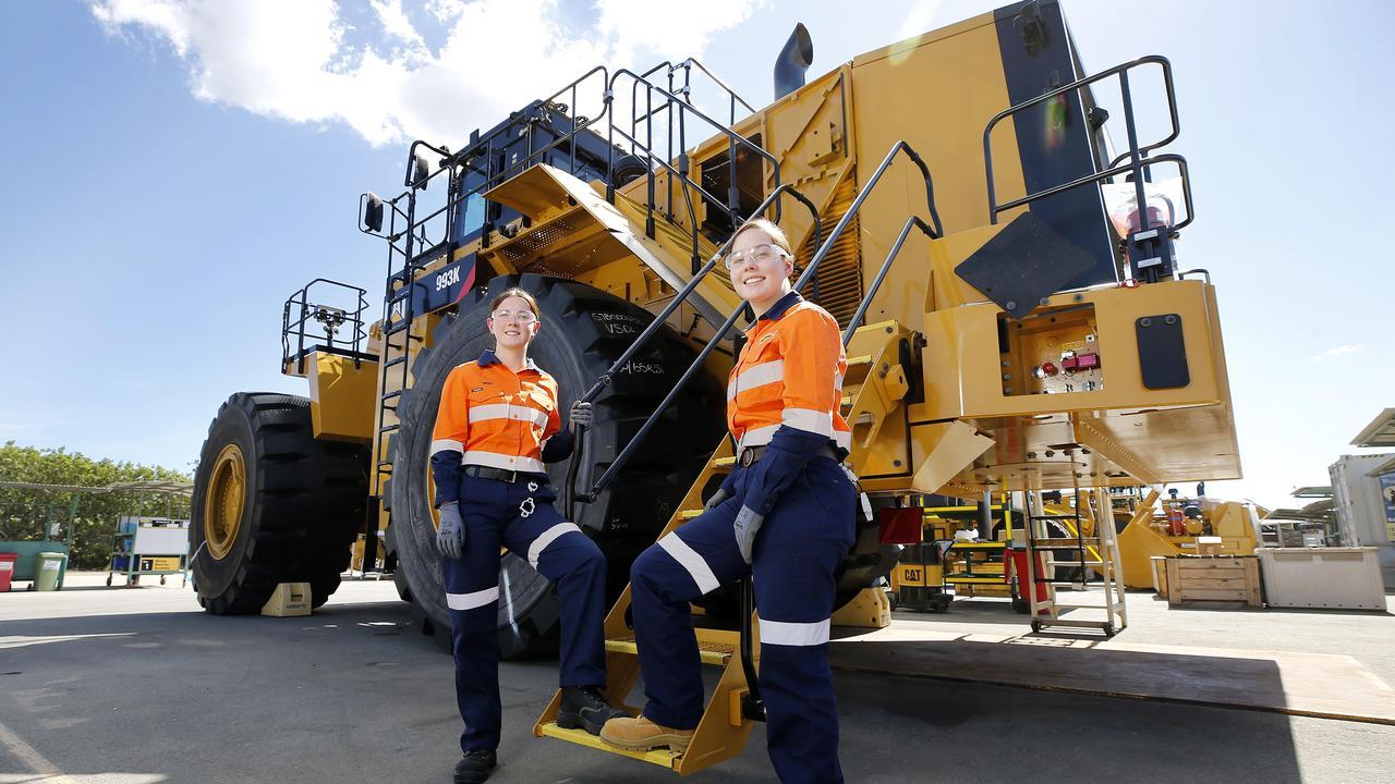 Hastings Deering diesel apprentices Heidi Daniels and Natasha stark posing at Hastings Deering, Archerfield Brisbane.