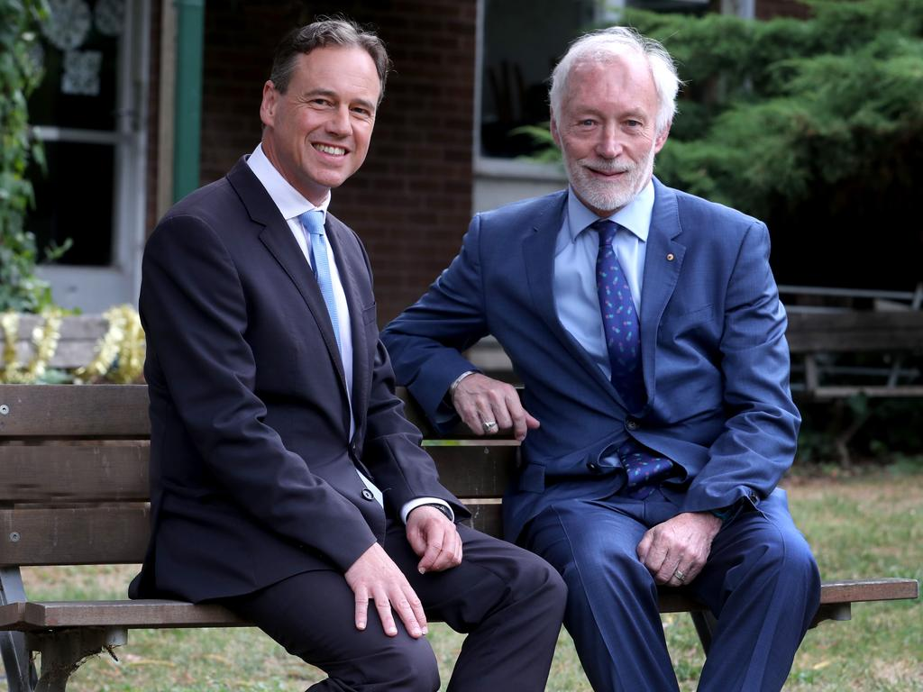 Health Minister Greg Hunt and mental health leader Professor Pat McGorry. Picture: David Geraghty