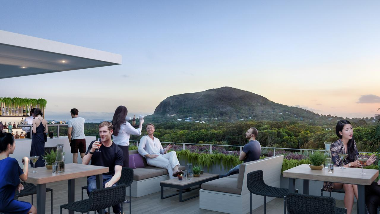 Artist's impressions of the rooftop bar overlooking Mount Coolum, as part of Sekisui's Yaroomba development.