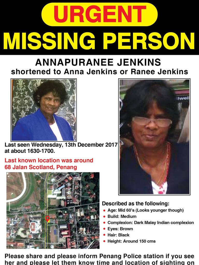 The missing persons poster of Annapuranee Jenkins, which a concerned local used to contact her family about the Penang construction site discovery.