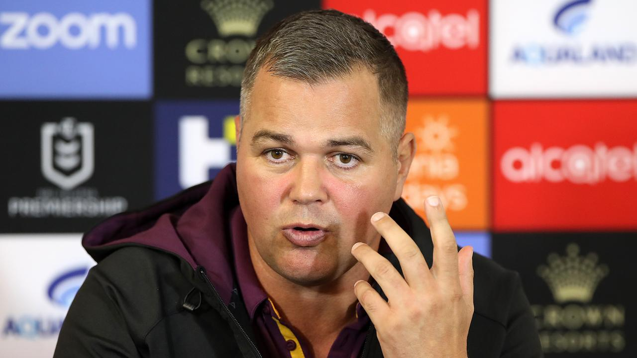 Broncos coach Anthony Seibold speaks to the media after his side's loss to South Sydney. Picture: Mark Kolbe/Getty Images